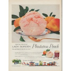 "1954 Lady Borden Ice Cream Ad ""Plantation Peach"""