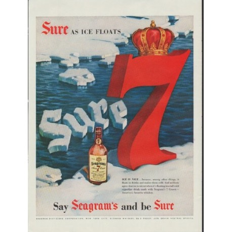 """1954 Seagram's Whiskey Ad """"Sure As Ice Floats"""""""