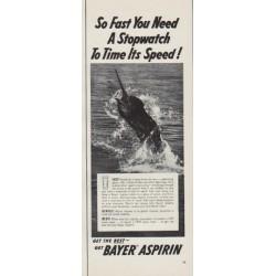 """1954 Bayer Aspirin Ad """"So Fast"""""""