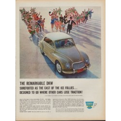 "1960 DKW Automobile Ad ""Cast Of The Ice Follies"""