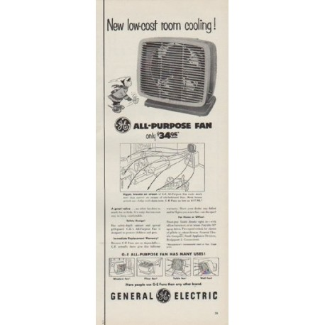 "1954 General Electric Ad ""low-cost room cooling"""