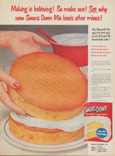 1954 Swans Down Cake Mix Vintage Ad Quot Making Is Believing Quot