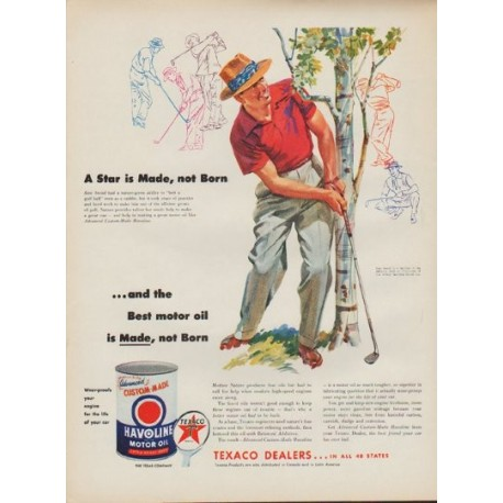 "1954 Texaco Motor Oil Ad ""Sam Snead"""