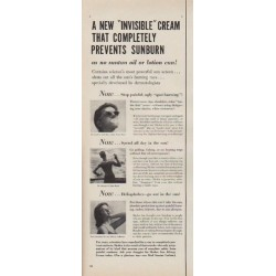 "1954 Skolex Sun Allergy Cream Ad ""Invisible Cream"""