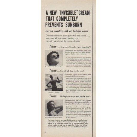 """1954 Skolex Sun Allergy Cream Ad """"Invisible Cream"""""""