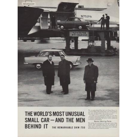 """1960 DKW-750 Ad """"Unusual Small Car"""""""