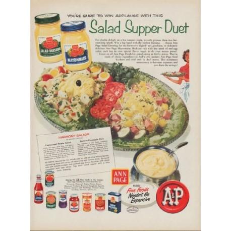 "1954 A&P Stores Ad ""Salad Supper Duet"""