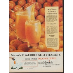 "1960 Florida Orange Juice Ad ""Powerhouse Of Vitamin C"""