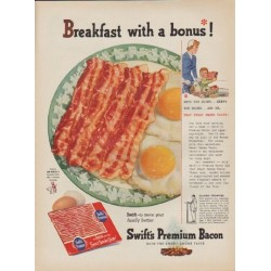 "1954 Swift's Premium Bacon Ad ""Breakfast with a bonus"""