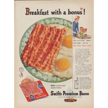 "1954 Swift's Premium Bacon Ad ""Breakfast with a bonus"""