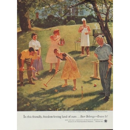 "1954 United States Brewers Foundation Ad ""Dad Takes on All Comers"""