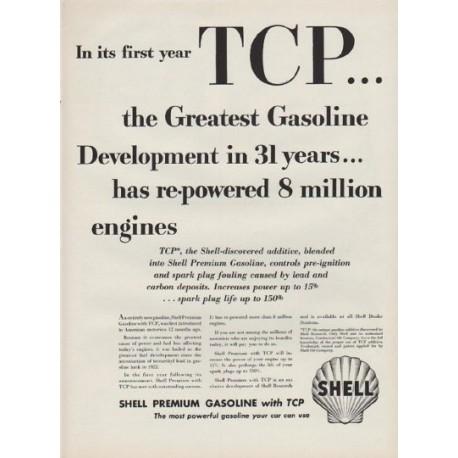 "1954 Shell Premium Gasoline Ad ""TCP"""