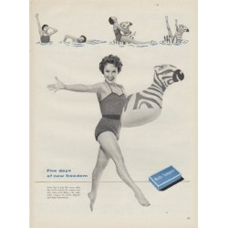 "1954 Meds Tampons Ad ""Five days"""