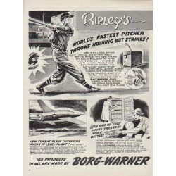 "1954 Borg-Warner Ad ""World's Fastest Pitcher"""