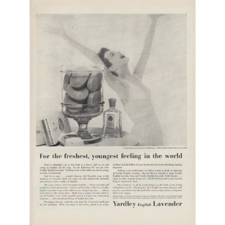 "1954 Yardley English Lavender Ad ""youngest feeling in the world"""