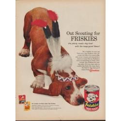 "1960 Friskies Dog Food Ad ""Out Scouting"""