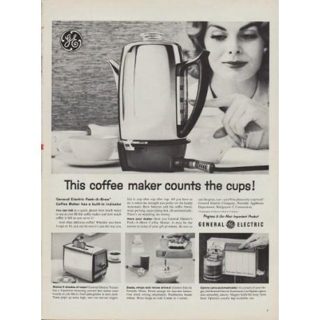 "1960 GE Coffee Maker Ad ""Peek-A-Brew"""