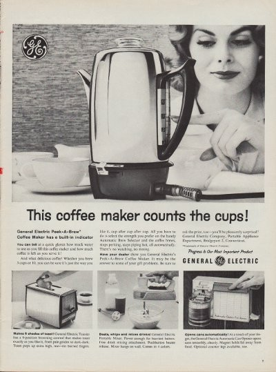 1960 Ge Coffee Maker Ad Quot Peek A Brew Quot