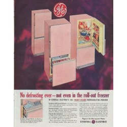 "1961 General Electric Ad ""No defrosting ever"""