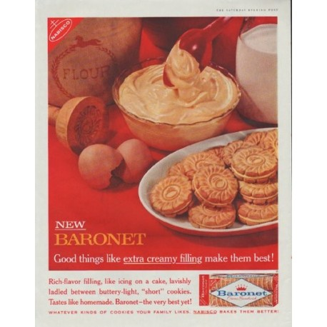 "1961 Nabisco Baronet Cookies Ad ""extra creamy filling"""