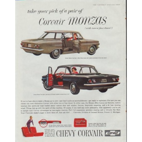 """1961 Chevy Corvair Ad """"take your pick"""""""