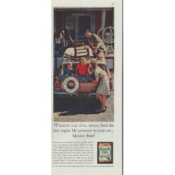 "1961 Quaker State Motor Oil Ad ""Wherever you drive"""
