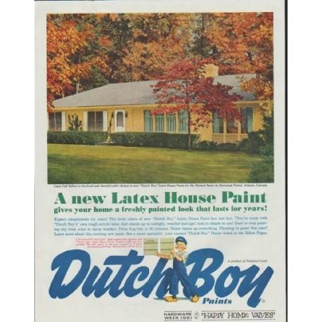 """1961 Dutch Boy Paints Ad """"Cape Cod Yellow"""""""
