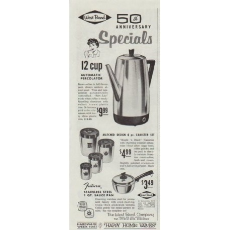 """1961 West Bend Ad """"50th Anniversary Specials"""""""