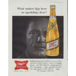 """1961 Miller Beer Ad """"sparkling clear"""""""