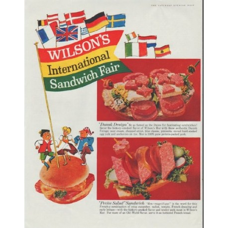 "1961 Wilson's Canned Meats Ad ""International Sandwich Fair"""