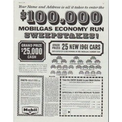 "1961 Mobilgas Ad ""Sweepstakes"""