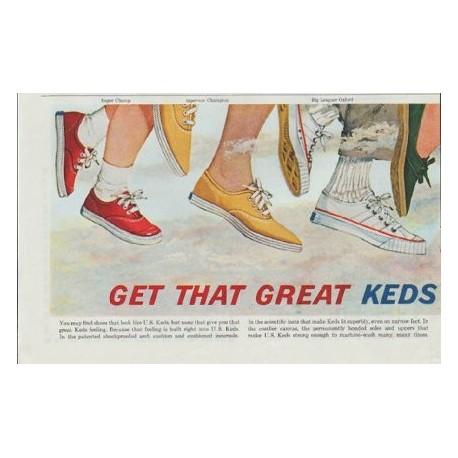 "1961 Keds Shoes Ad ""Great Keds Feeling"""