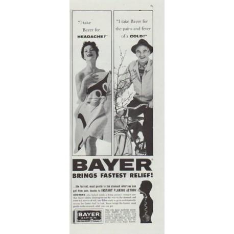 "1961 Bayer Aspirin Ad ""Fastest Relief"""