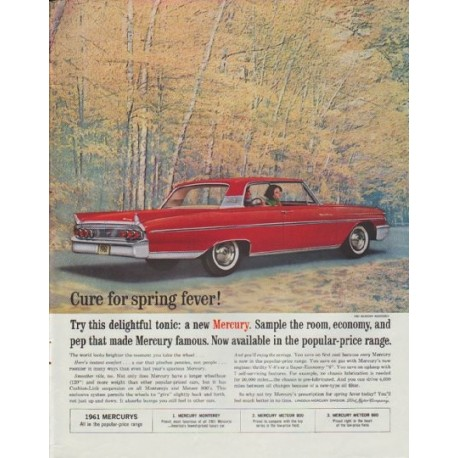 """1961 Ford Mercury Ad """"Cure for spring fever"""""""