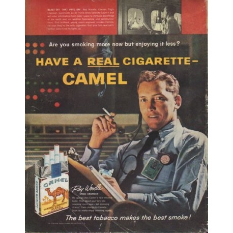 "1961 Camel Cigarettes Ad ""Blast-Off That Pays Off"""
