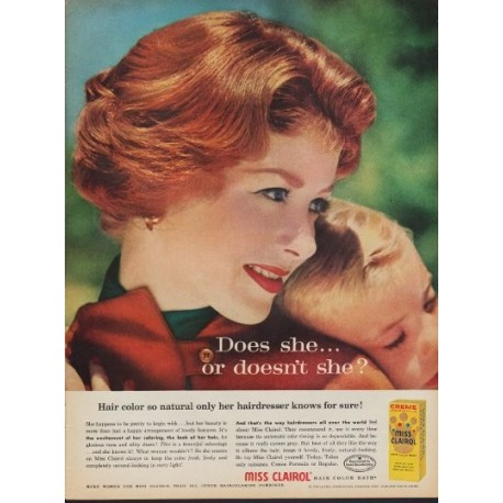 "1960 Miss Clairol Hair Color Ad ""So Natural"""