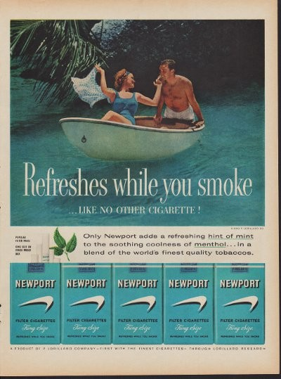 1960 Newport Cigarettes Ad Quot Hint Of Mint Quot