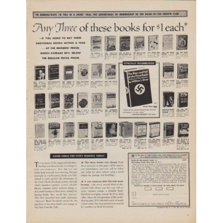 "1961 Book-Of-The-Month-Club Ad ""Any Three"""