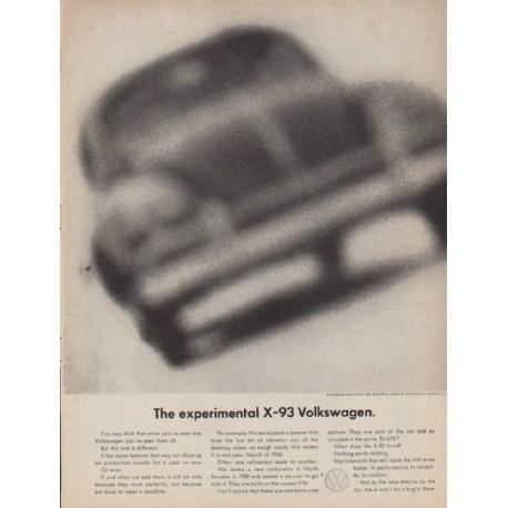 """1961 Volkswagen Ad """"The experimental X-93 Volkswagen"""""""