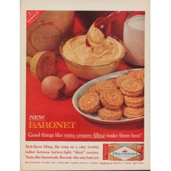 "1961 Baronet Cookies Ad ""extra creamy filling"""