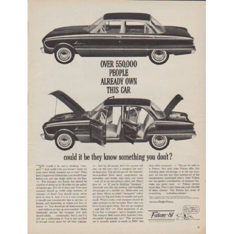 """1961 Ford Falcon Ad """"550,000 people"""""""
