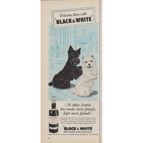 "1961 Black & White Scotch Ad ""Welcome them with Black & White"""