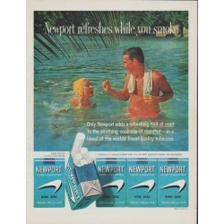 "1961 Newport Cigarettes Ad ""Newport refreshes while you smoke"""
