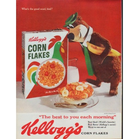 "1961 Kellogg's Corn Flakes Ad ""What's the good word, bird?"""