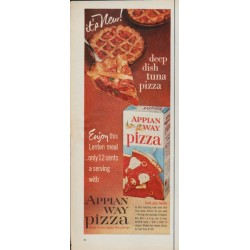 "1961 Appian Way Pizza Ad ""deep dish tuna pizza"""
