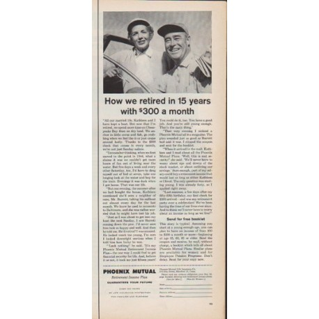 "1961 Phoenix Mutual Life Insurance Ad ""How we retired"""