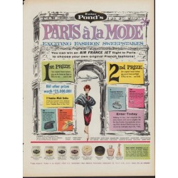 "1960 Pond's Skin Cream Ad ""Paris A La Mode"""