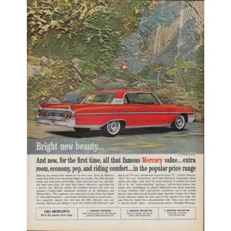 "1961 Ford Mercury Ad ""Bright new beauty"""