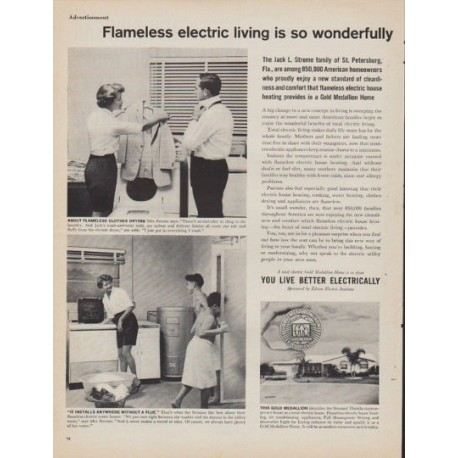 "1961 Gold Medallion Home Ad ""Flameless electric living"""
