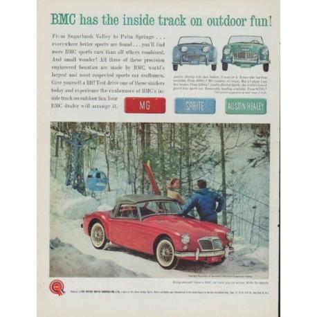 "1961 British Motor Corporation Ad ""inside track"""